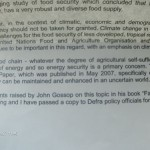 Hilary Benn MP letter to Peak Food about food shortages