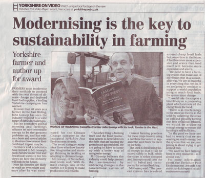 Peak Food Author John Gossop in the Yorkshire Post